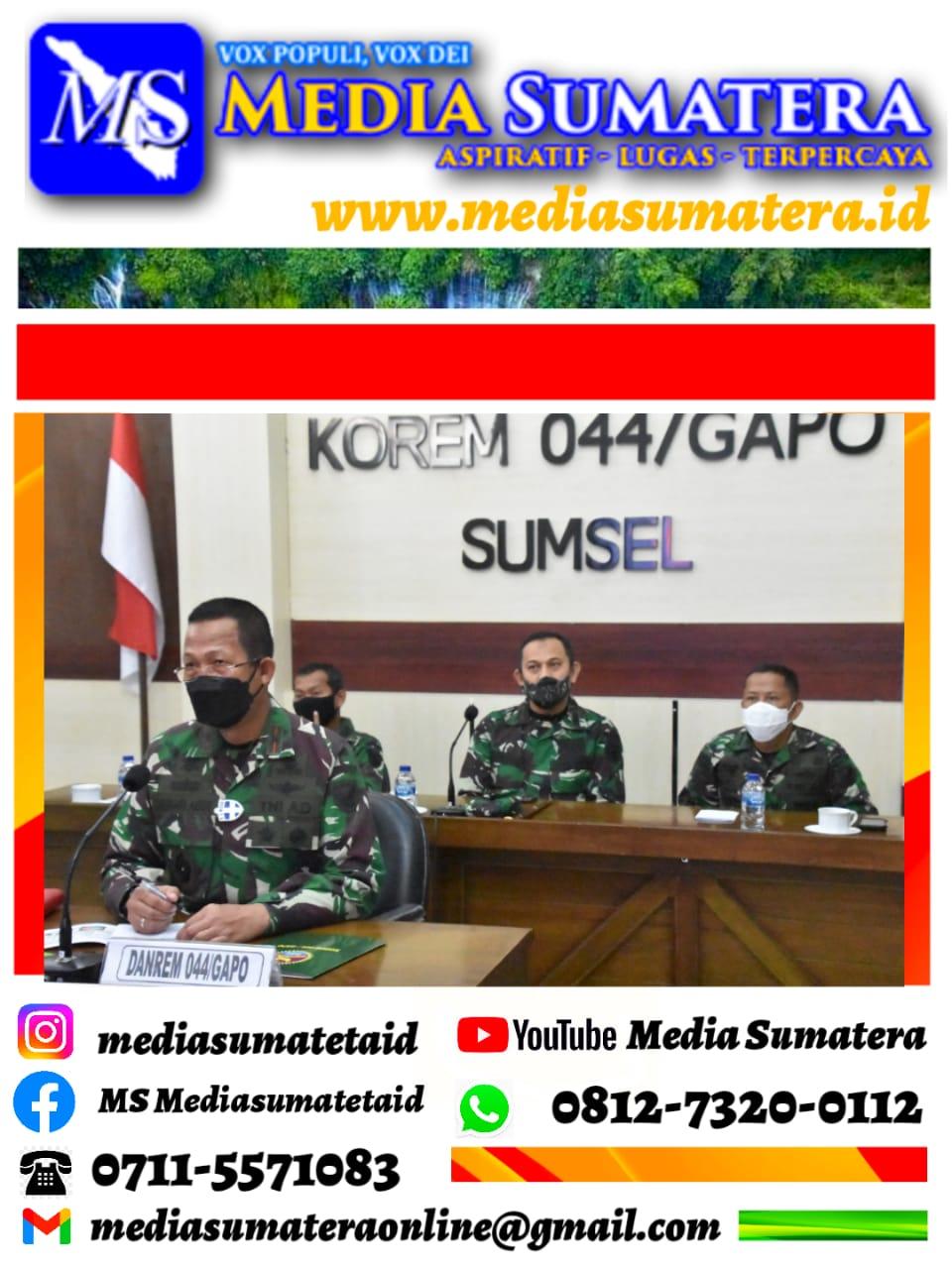 Danrem 044/Gapo Mengikuti Rakor Vicon Panglima TNI Investasi Tentang Penguatan PPKM Darurat di Wilayah Jawa Dan Bali