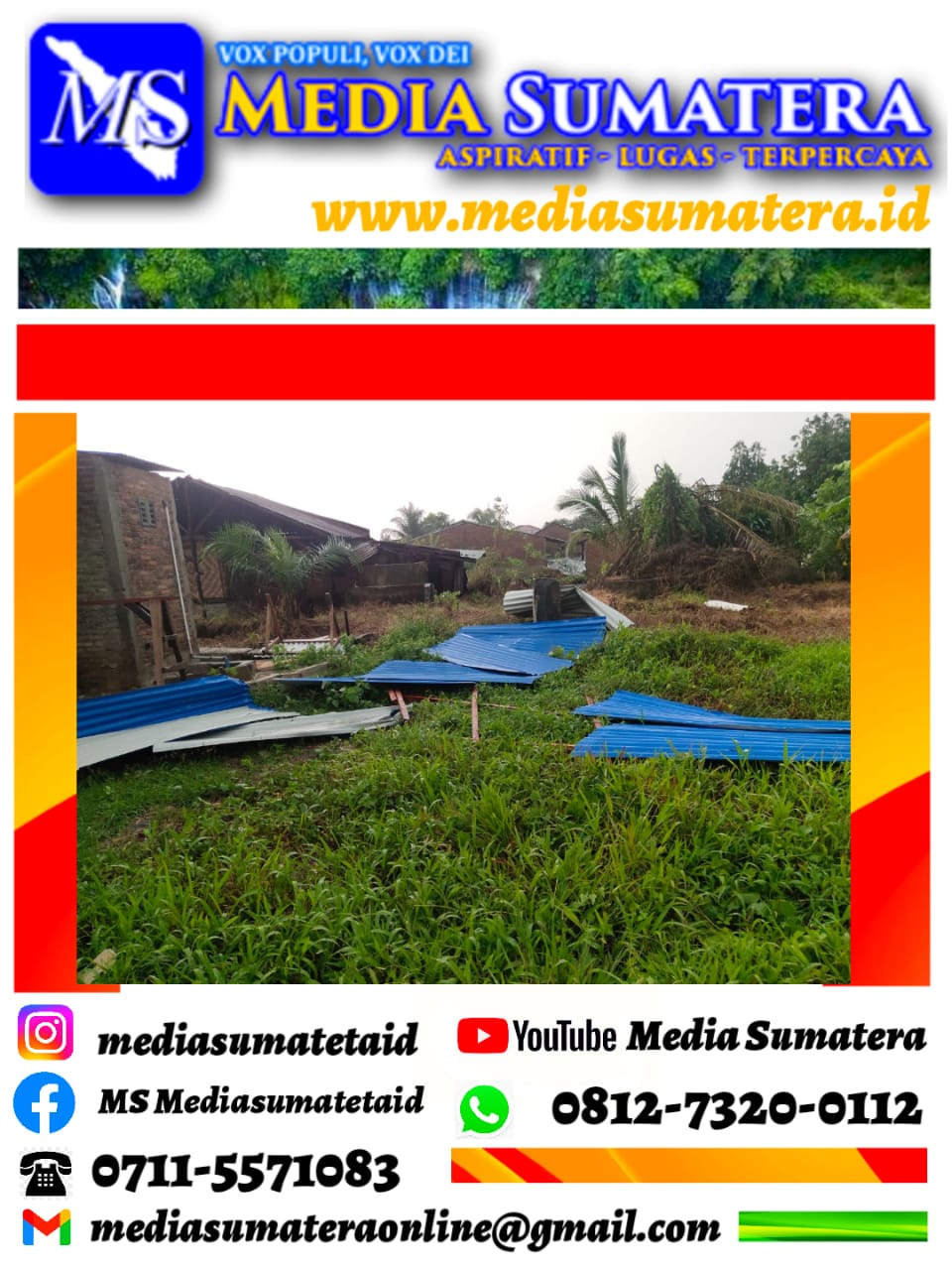 Angin Puting Beliung Porak Porandakan Rumah Warga Kecamatan Biru Biru Kabupaten Deli Serdang Sumatera Utara