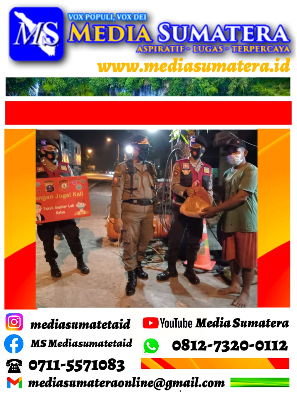 Patroli Gabungan Skala Besar Polresta Deli Serdang Di Isi Dengan Bagi Masker Dan Paket Sembako