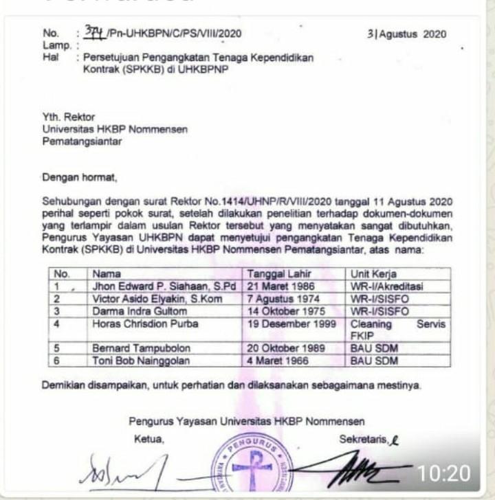 Pegawai Pusat Sistem Informasi Tuntut Kejelasan Status Dengan Mensomasi Rektor Sanggam Siahaan Universitas HKBP Nommensen Pematangsiantar