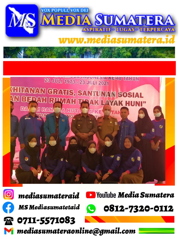 Bupati Banyuasin H. Askolani Jasi SH., MH dan Ketua DPD KNPI Banyuasin Ismail Fahmi S. Sh Apresiasi Giat Sosial Bedah Rumah Oleh PK KNPI Muara Padang